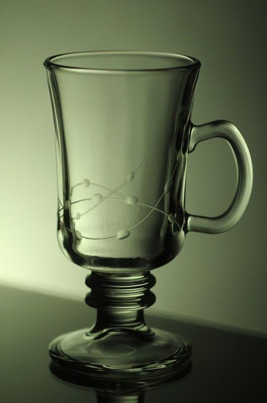sklenice na latte nebo kávu 1ks venezia s rytinou korale, možnost jména na přání