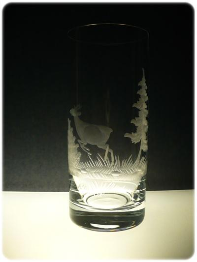 skleničky na pivo 6 ks Barline 340ml,sklenice ručně rytý (broučený) motiv myslivost, dárek pro myslivce