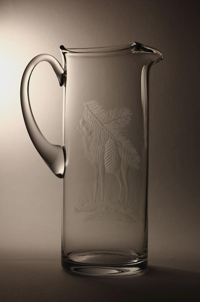 džbán na pivo 2l myslivost,ručně rytý (broušený) motiv jelena, dárek pro dědečka