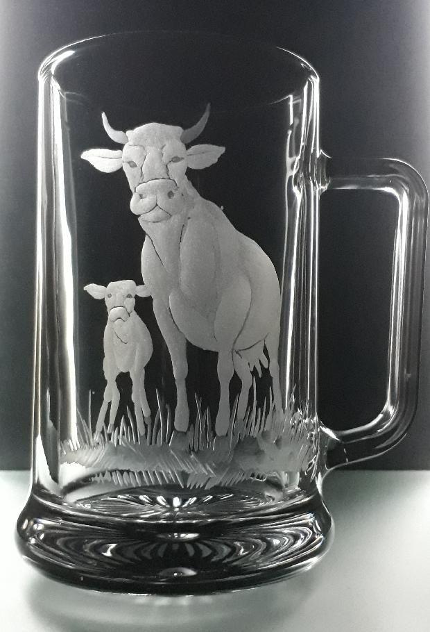 půllitr s kravičkou , kráva a telátko, dárek pro zemědělce