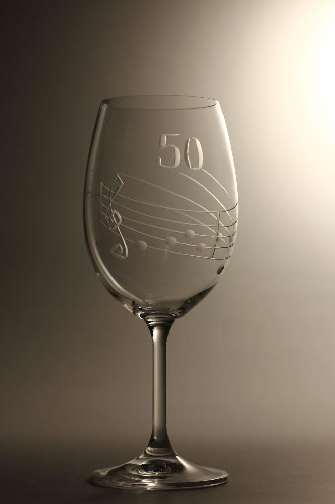 sklenice k výročí (jubileu) motiv noty, dárek k 50 narozeninám,dárkové balení