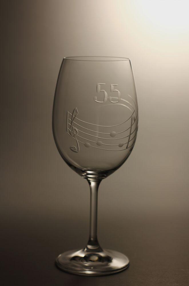 sklenice k výročí (jubileu),motiv noty, dárek k 55 narozeninám