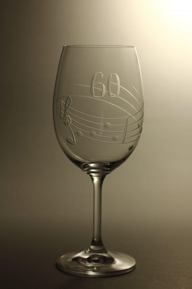 sklenice k výročí (jubileu),motiv noty, dárek k 60 narozeninám
