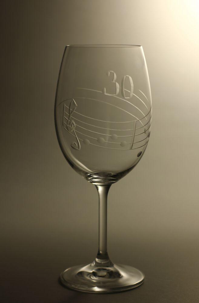 sklenice k výročí (jubileu) motiv noty, dárek k 30 narozeninám,dárkové balení
