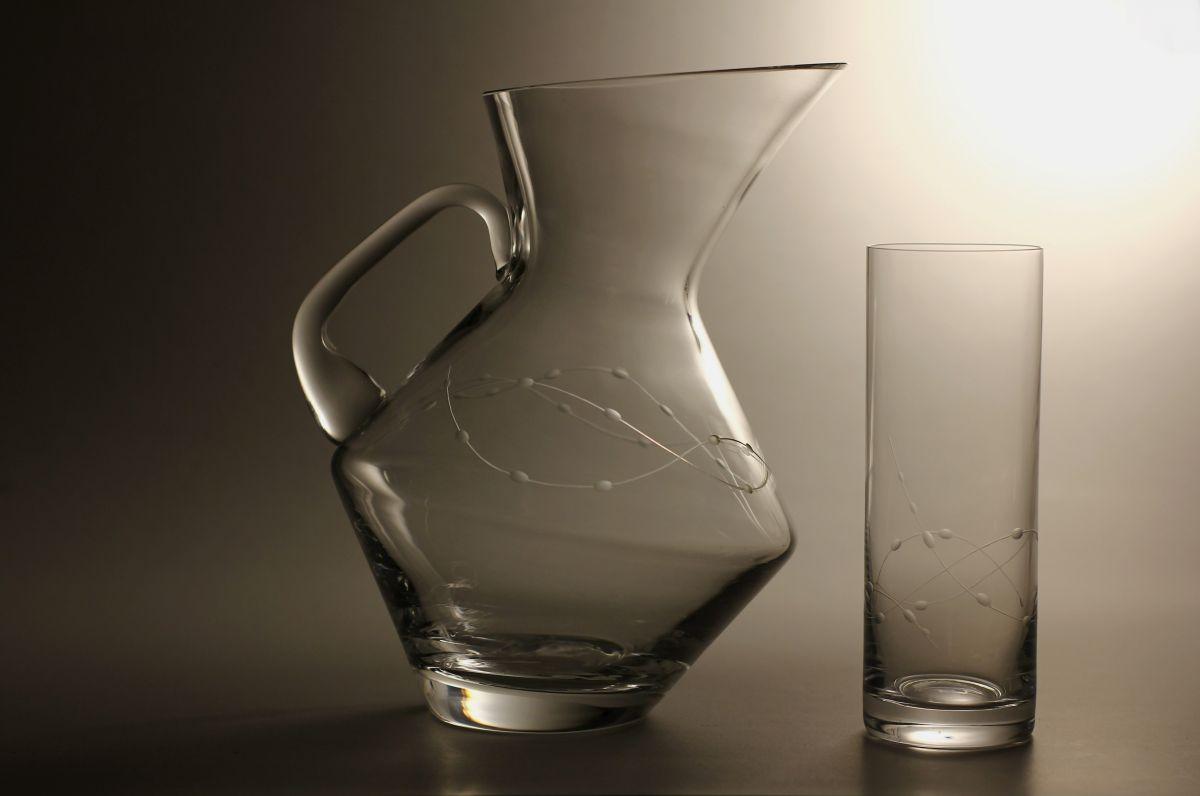 džbán na pivo (vodu) 1,5l + 2ks sklenic 340ml s rytinou korale, možnost jména i výročí na přání