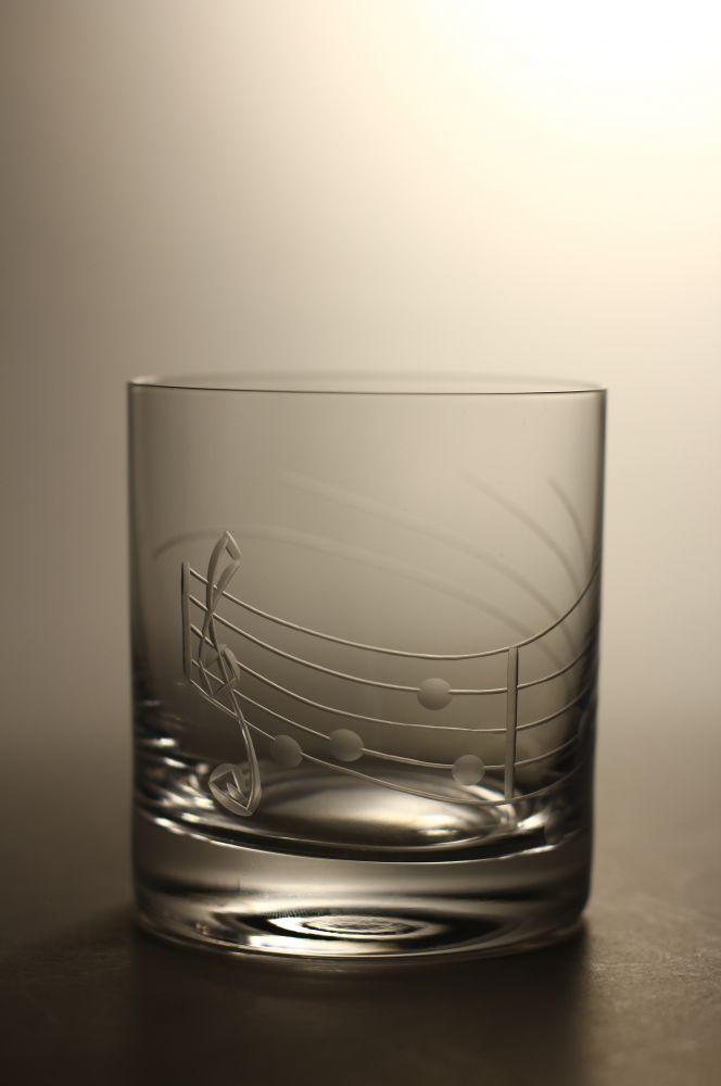 skleničky na whisky 6ks Barline 280ml,sklenice s rytinou noty,dárek pro muzikanty