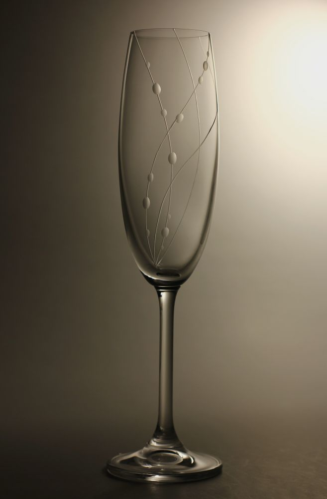 sklenice na sekt 1ks Lara 220ml,sklenička s rytinou korale,dárek k narozeninám