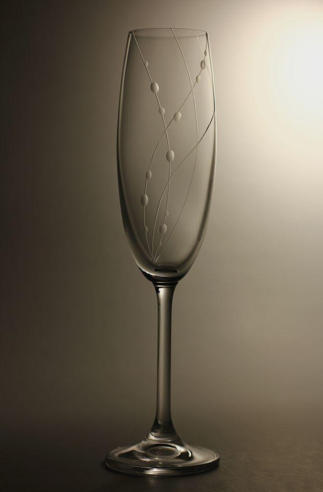 skleničky na sekt 6ks Lara 220 ml,sklenice s rytinou korale, dárek k narozeninám