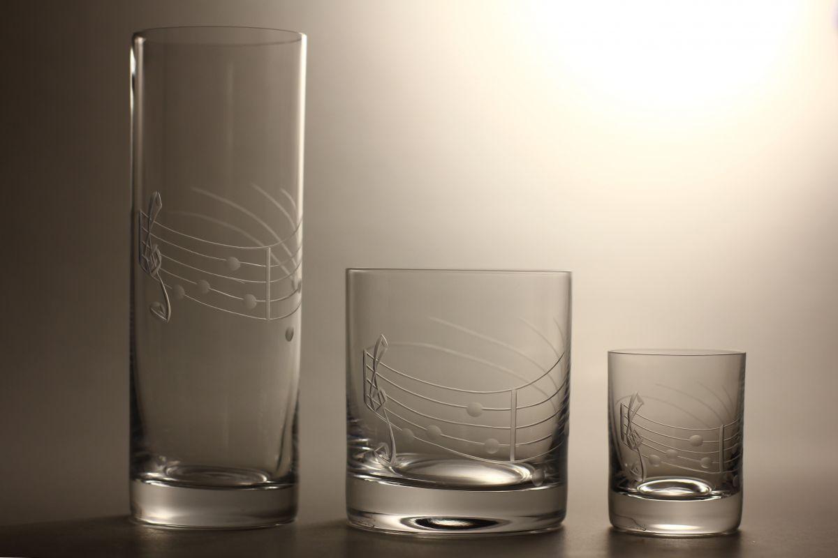 kompletní řada, sklenice Barline na pivo,whisky,likér s rytinou not, luxusní dárek
