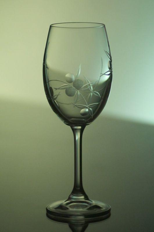skleničky na víno 2ks Lara 350ml,sklenice s rytinou bobule, dárkové balení