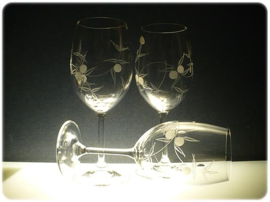 skleničky na víno 6ks Lara 350 ml,sklenice s rytinou bobule, dárek k narozeninám