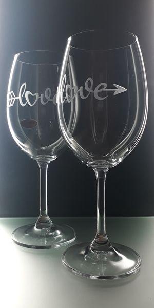 sklenice 2ks na víno 450ml, dárek z lásky, dárek k Valentýnu