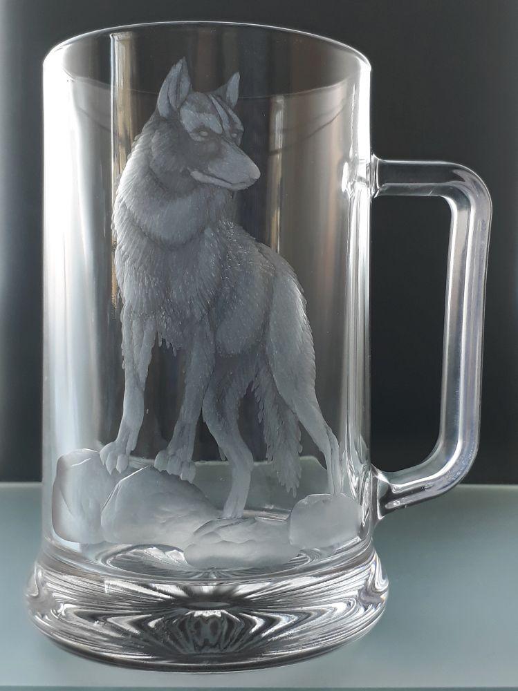 půllitr ručně broušený , motiv vlka,dárek pro muže