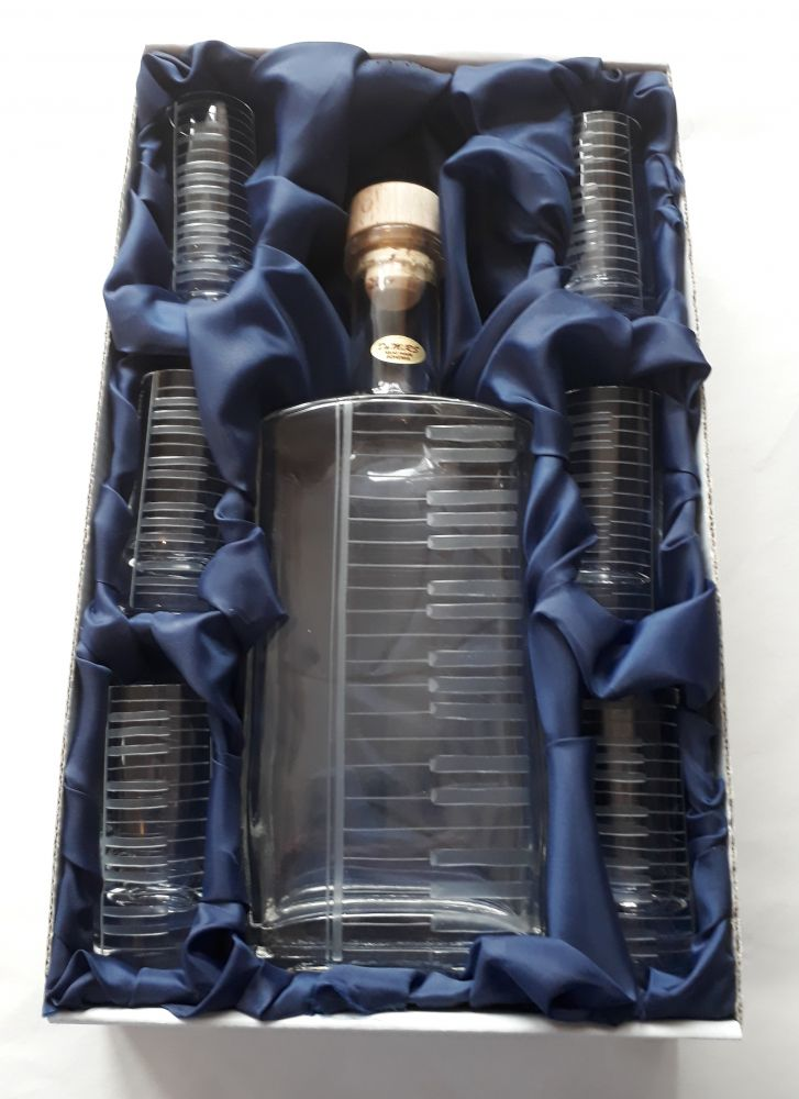 lahev na kořalku 0,5l s rytinou klaviatury +6ks likér , dárek pro pianistu a klávesáka