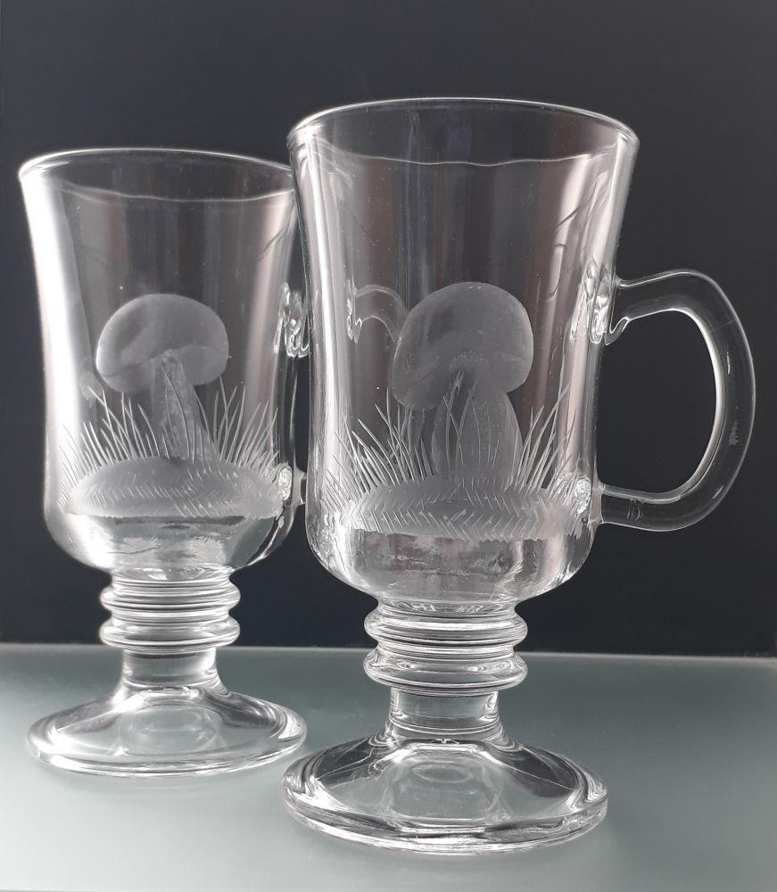 sklenice venezia na kávu nebo latte 2ks s rytinou hřibku a kozáku, dárek pro houbaře