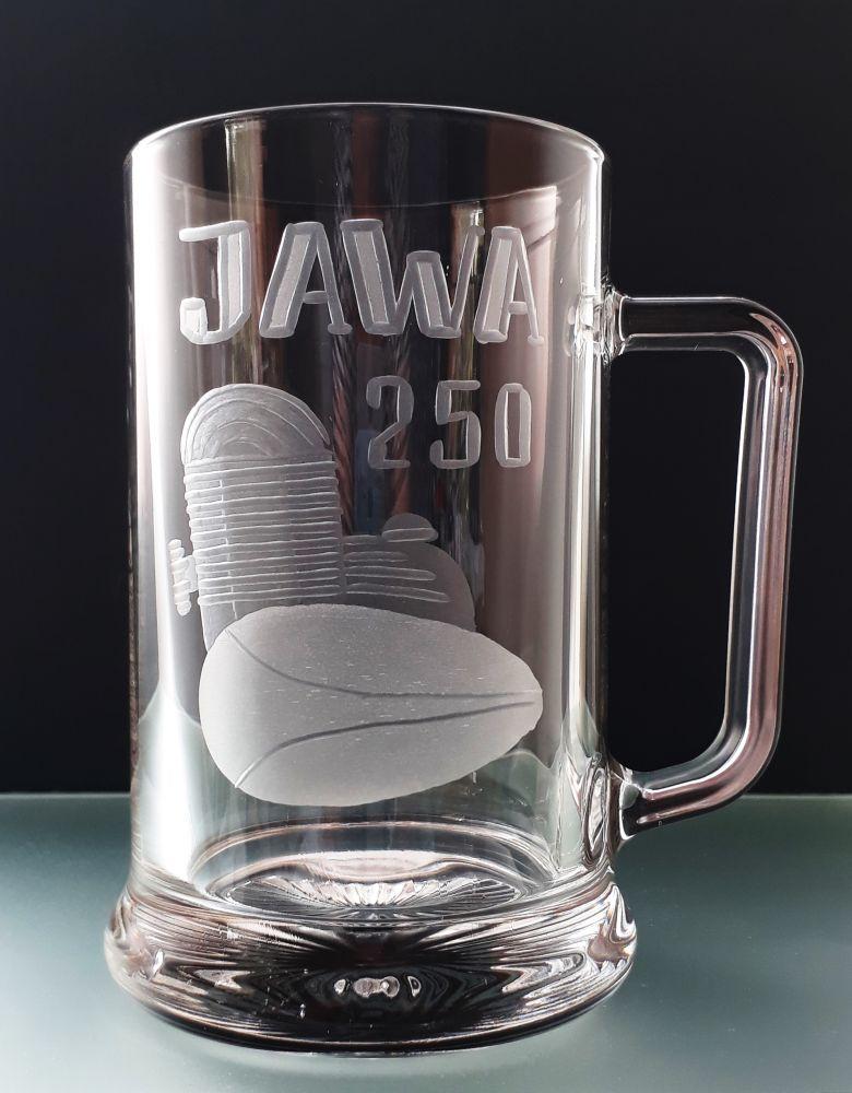 půllitr Jawa 250, motiv motoru jawa 250, dárek pro motorkáře