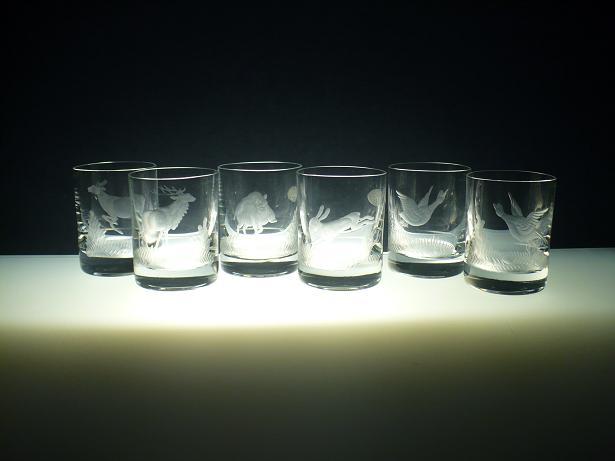 skleničky na likér 6ks Barline 60ml,sklenice ručně ryté (broušené) myslivecký motiv ,dárek pro myslivce