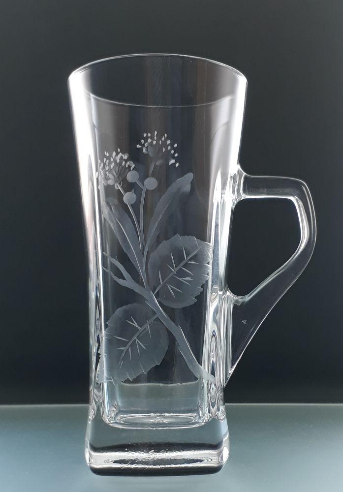 hrneček na čaj 1ks s rytinou lipového květu, možnost jména na přáná