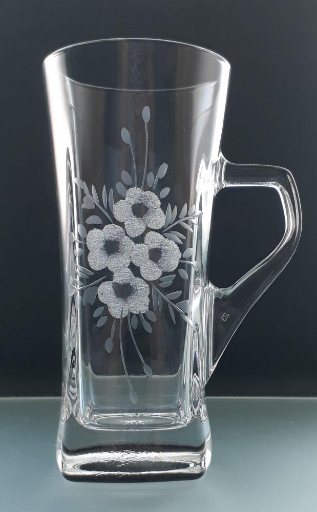 sklenice na čaj nebo latte 1ks s rytinou květin, možnost jména na přání