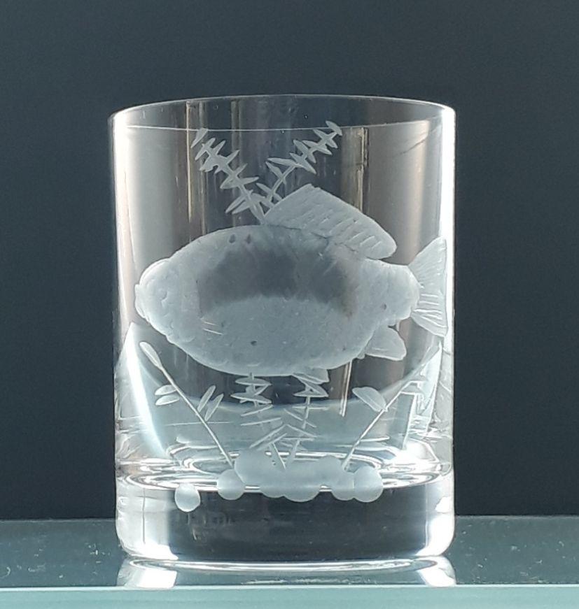 skleničky na likér 6 ks Barline 60ml s rytinou ryb, dárek pro rybáře