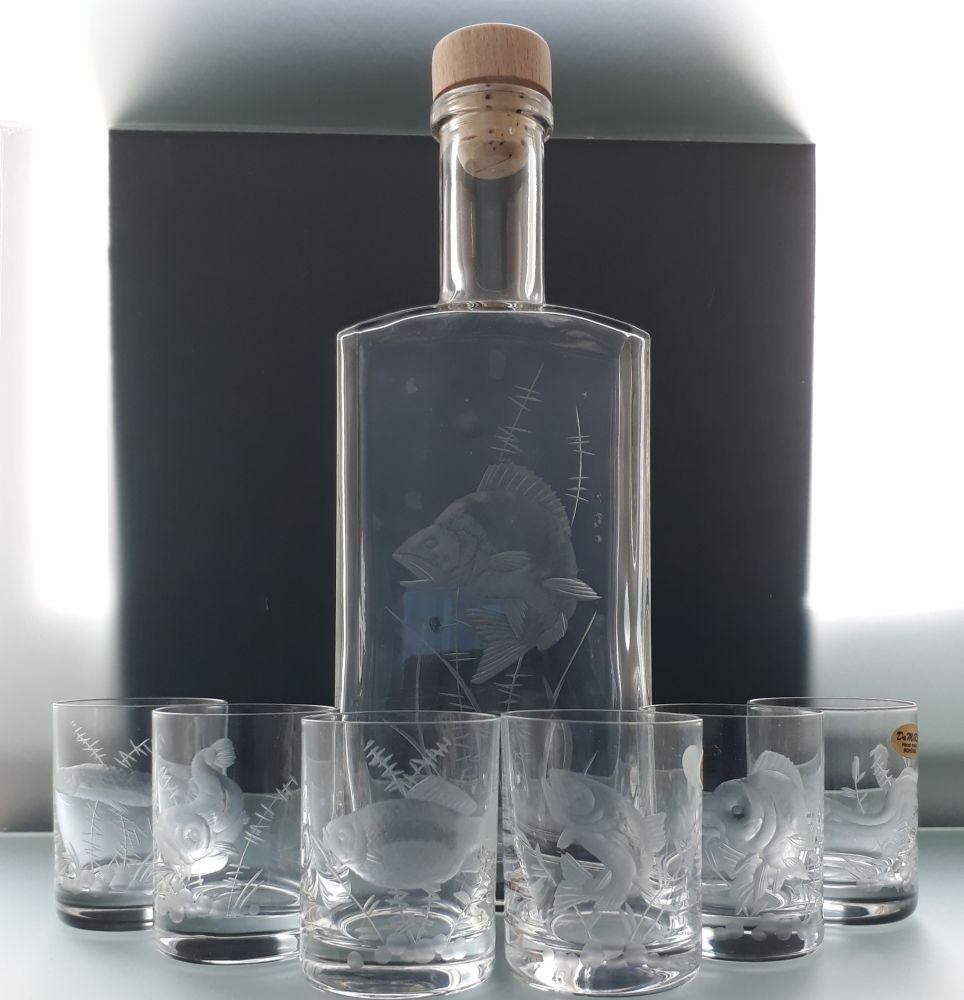 lahev 500ml+ 6 ks Barline 60ml skleničky na likér,ručně broušené, motiv okoun, dárek pro rybáře