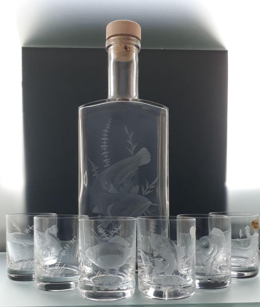 lahev 500ml+ 6 ks Barline 60ml skleničky na likér,ručně broušené, motiv sumec, dárek pro rybáře