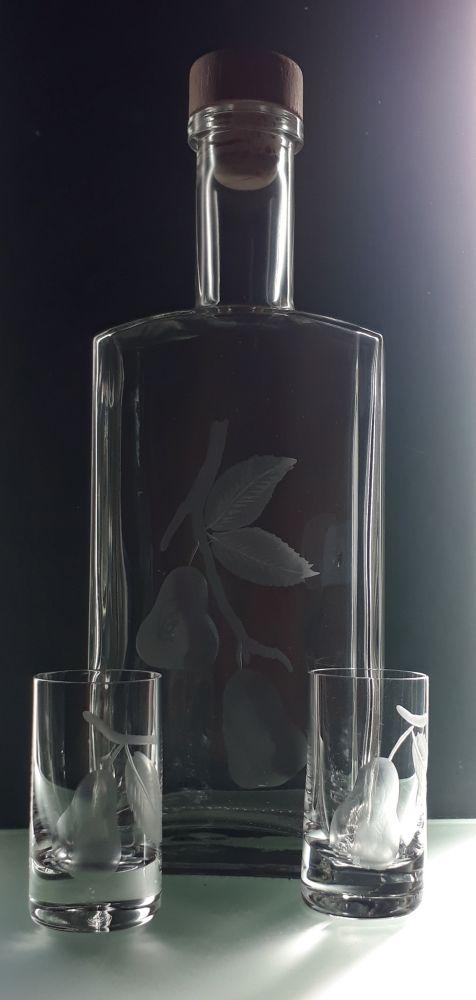 lahev na hruškovici (pálenku) 0,5l+ 2ks likér barline s rytinou hrušek,text na přání