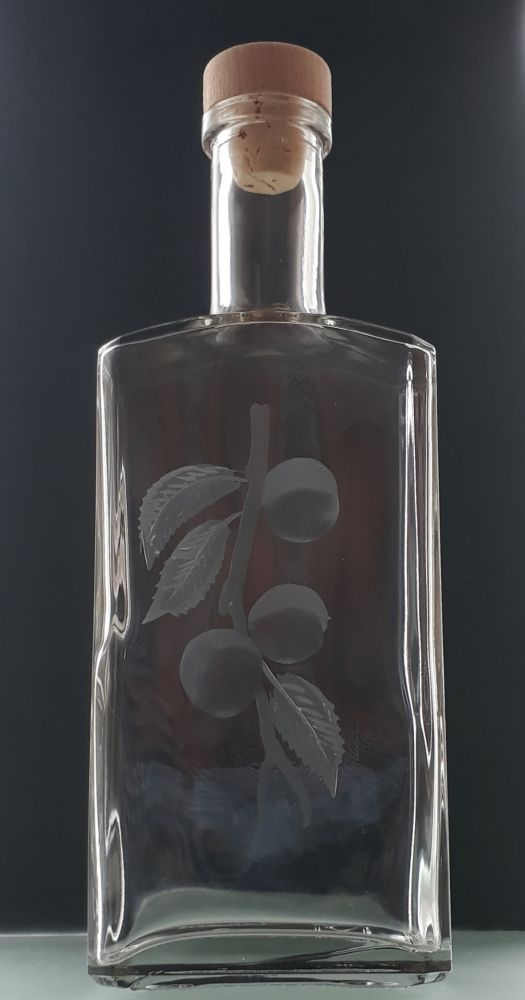 lahev na meruňkovici (pálenku) 0,5l s rytinou meruněk , dárek pro muže