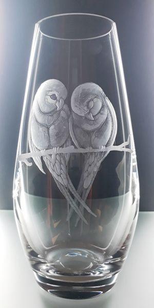 skleněná váza 20cm s rytinou ptáčků, dárek k Valentýnu, možnost textu na přání