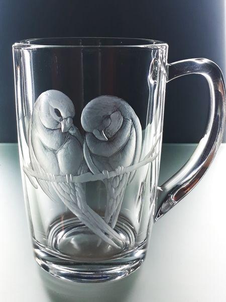 hrníček na čaj 250ml s rytinou ptáčků, dárek k Valentýnu, možnost jména na přání