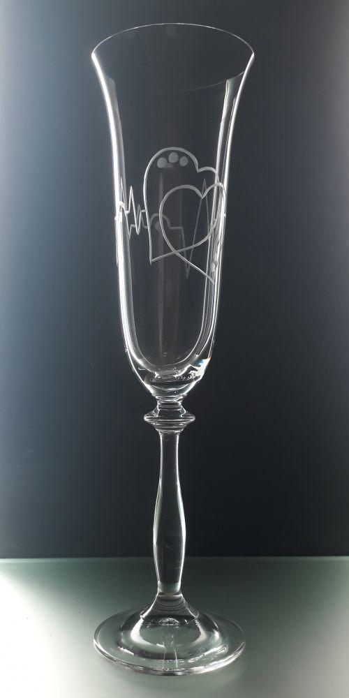 sklenice 1ks na sekt 190ml možnost jména na přání , dárek z lásky k Valentýnu