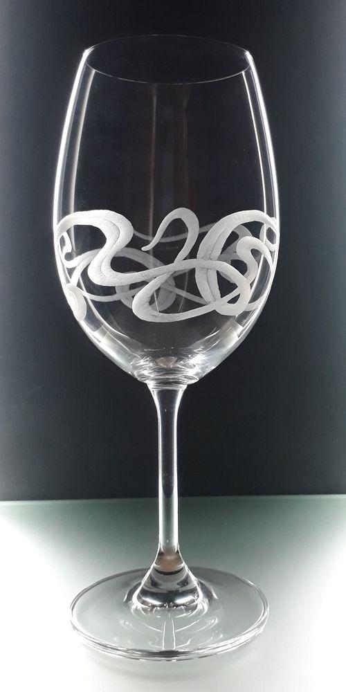 sklenka na víno 2ks Lara 350ml secesním dekorem, luxusní dárek pro muže i ženu
