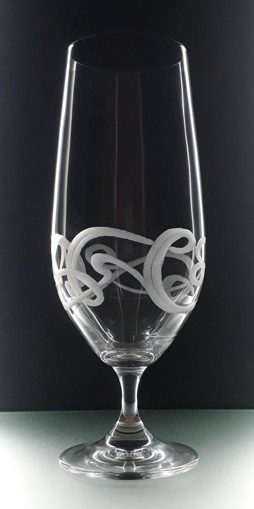 skleničky na pivo 6ks Lara 380 ml secesním dekorem, luxusní dárek pro muže