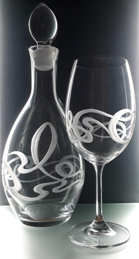 lahev na víno 1l a 6ks sklenic na víno 350ml se secesním dekorem, luxusní dárek pro muže i ženu