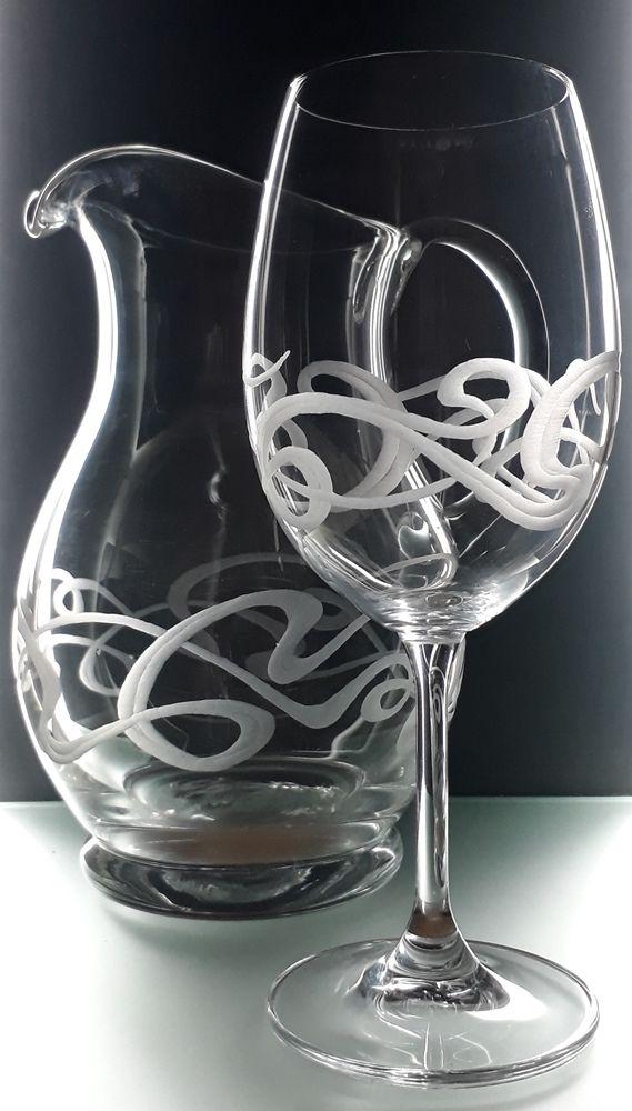 džbán 1250ml a 2ks sklenky na víno 350ml se secesním dekerem, luxusní dárek pro muže i ženu