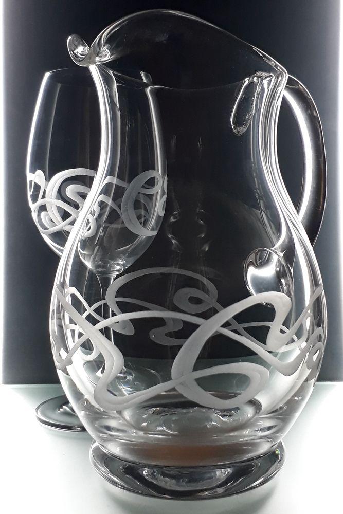 džbán 1250ml a 6ks sklenek na víno 350ml se secesním dekorem, luxusní dárek pro muže i ženy
