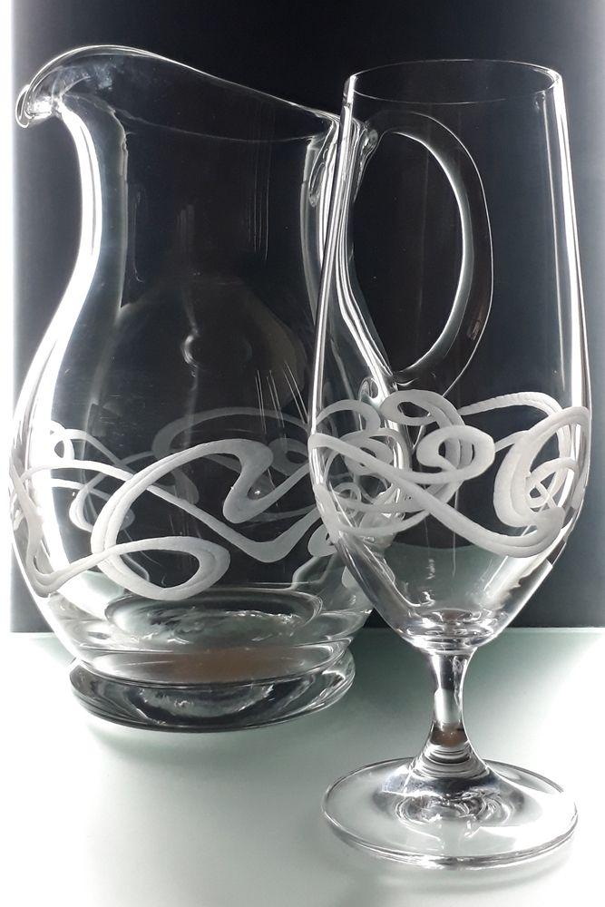 džbán 1250ml a 6ks sklenic na pivo 380ml se secesním dekorem, luxusní dárek pro muže