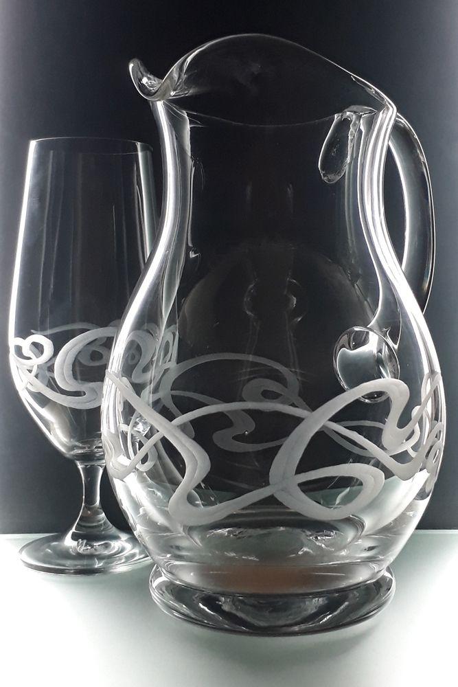 džbán 1250ml a 2ks sklenky na pívo 380ml se secesním dekorem, luxusní dárek pro muže i ženu