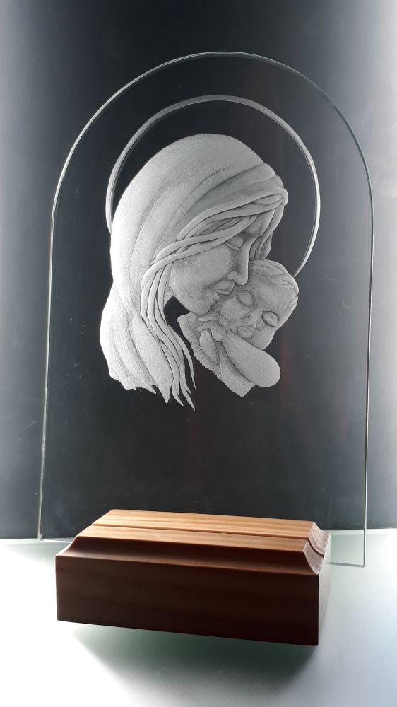 skleněný obrázek Panny Marie s Ježíškem