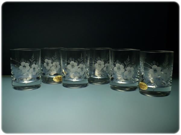 skleničky na likér nebo slivovici 6ks Barline 60ml,sklenice ručně ryté (broušené) motiv květ, dárek pro muže i ženu