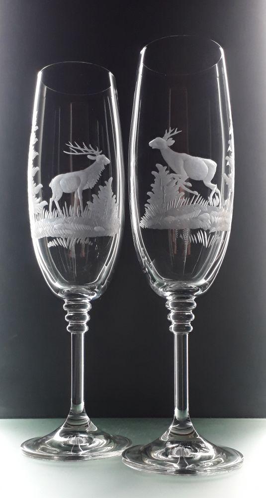 sklenice na sekt 190ml 2 ks Olivie ,skleničky s rytinou myslivosti, dárek pro myslivce