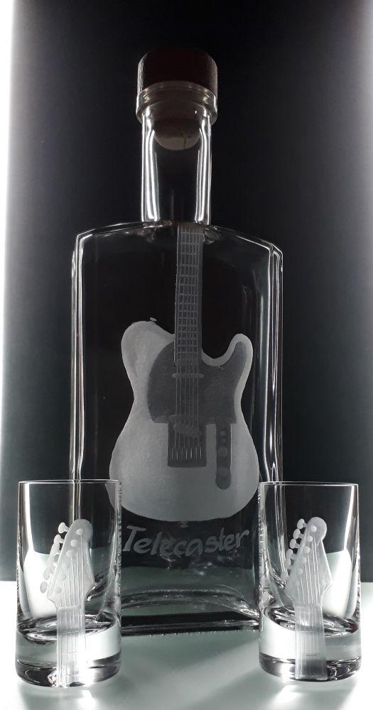 lahev na kořalku 0,5l s rytinou el. kytary Teletaster +6ks likér, možnost jména i textu na přání