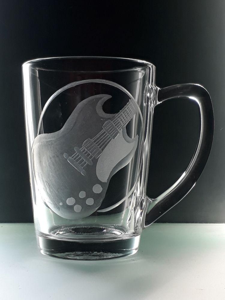 hrnek skleněný na čaj 250ml s el.kytarou SG, dárek pro muzikanty