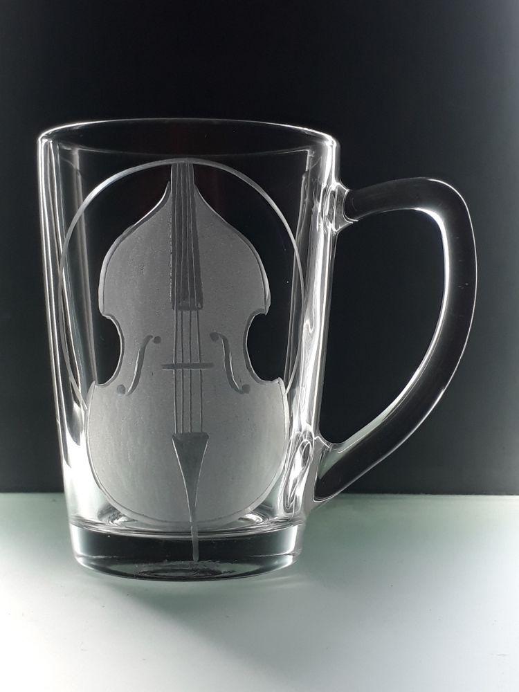 hrnek skleněný na čaj 250ml s kontrabasem, dárek pro muzikanty