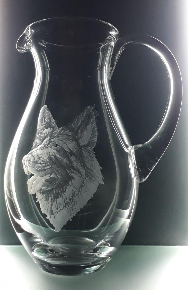 džbán 1,5l s rytinou vlčáka, dárek pro muže i ženu