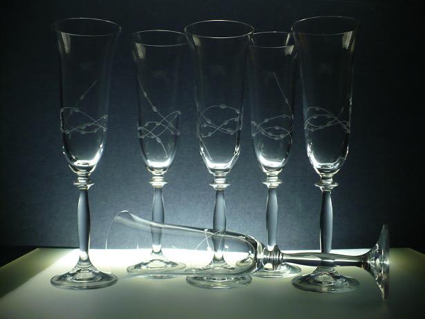 sklenice na sekt 6ks Angela 190ml,skleničky ručně ryté (broušené) motiv korale,dárek pro muže i ženu