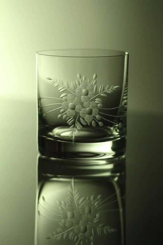 skleničky na whisky 6ks Barline 280ml,sklenice ručně ryté (broušené) motiv květ,dárek pro muže