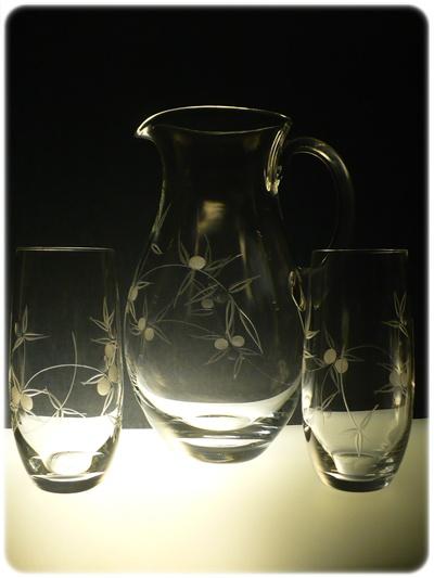 džbán 1,5l + skleničky 6 ks Club 350 ml na pivo, ručně ryté (broušené) motiv bobule,dárek pro muže