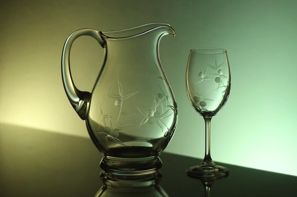 džbán na víno + skleničky na víno 6ks Lara 250 ml, ručně ryté (broušené) motiv bobule