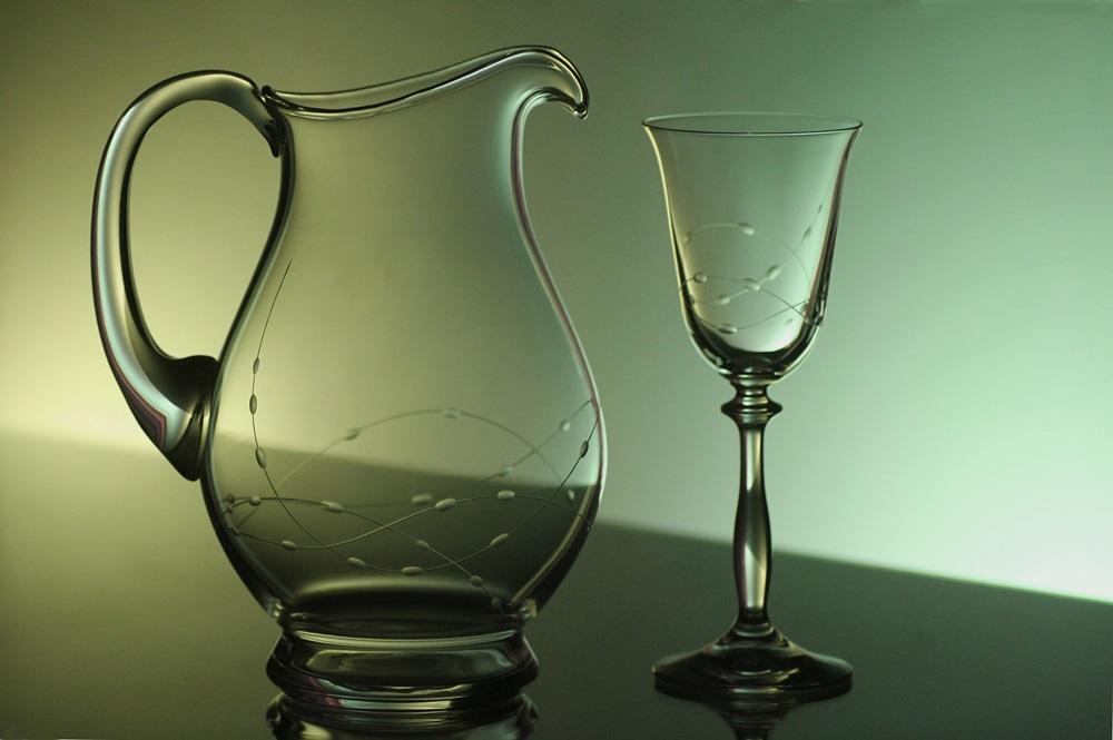 džbán na víno + 2 skleničky na víno Angela 185ml, ručně ryté (broušené) motiv korale